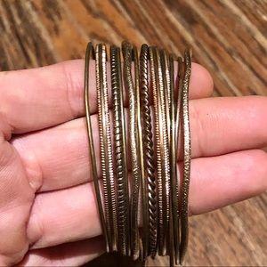 Dainty gold bangle set